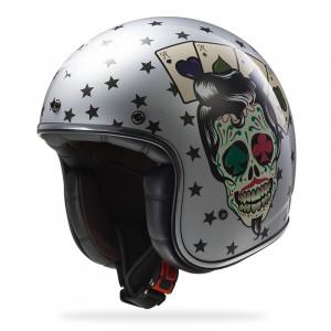 Casco jet LS2 Helmets OF583 BOBBER TATTOO Silver