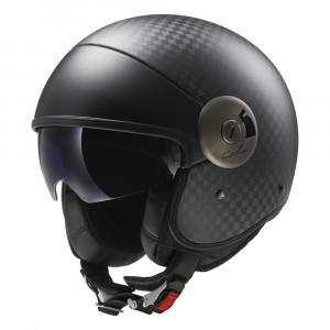 Casco jet CARBONO LS2 Helmets OF597 Cabrio Solid Carbon