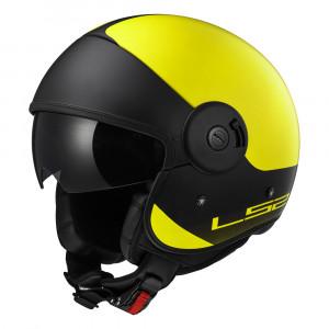 SUPEROFERTA: Casco jet LS2 Helmets OF597 Cabrio VIA Matt Hi-Vis Yellow Black
