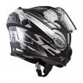 Casco convertible LS2 Helmets FF399 VALIANT ROBOTO Black White Chrome + Bolsa portacasco ACERBIS de regalo
