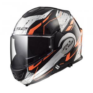 Casco convertible LS2 Helmets FF399 VALIANT ROBOTO Black Orange Chrome