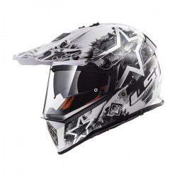 Casco cross/enduro LS2 Helmets MX436 PIONEER CHAOS White Black