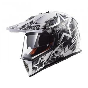Casco cross/enduro LS2 Helmets MX436 PIONEER CHAOS White Black