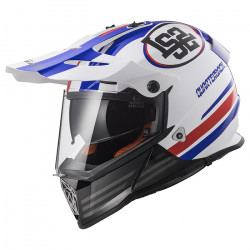 Casco cross/enduro LS2 Helmets MX436 PIONEER QUARTERBACK White Red Blue