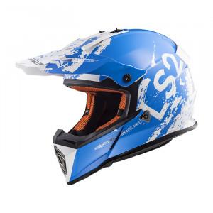 SUPEROFERTA: Casco cross/enduro LS2 Helmets MX437 FAST SPOT White Blue