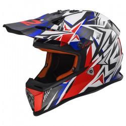 Casco cross/enduro LS2 Helmets MX437 FAST STRONG White Blue Red