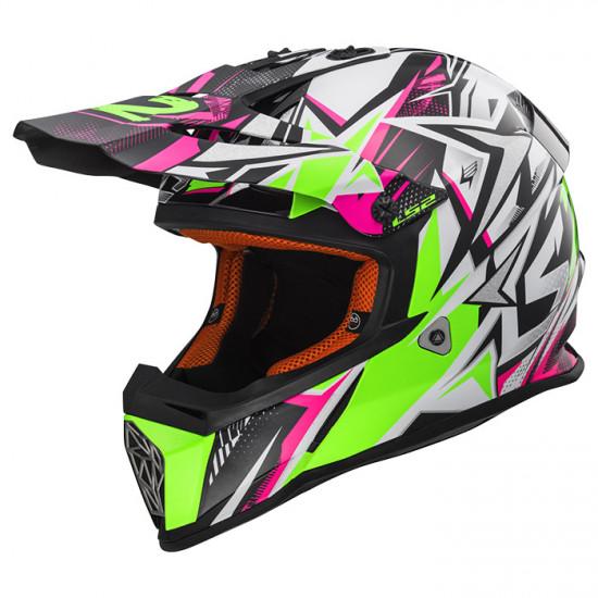 SUPEROFERTA: Casco cross/enduro LS2 Helmets MX437 FAST STRONG White Green Pink