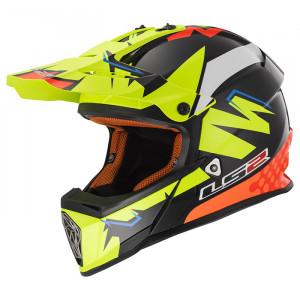 Casco cross/enduro LS2 Helmets MX437 FAST VOLT Black H-V Yellow