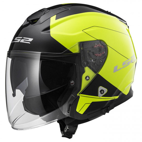 SUPEROFERTA Casco jet LS2 Helmets OF521 INFINITY BEYOND Black H-V Yellow