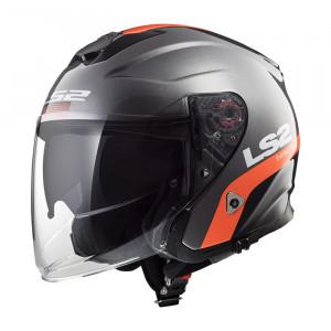 Casco jet LS2 Helmets OF521 INFINITY SMART Matt Titanium Orange