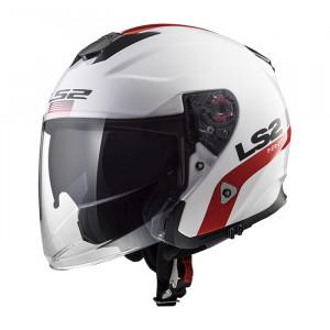 Casco jet LS2 Helmets OF521 INFINITY SMART White Red Blue