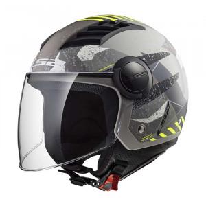 Casco jet LS2 Helmets OF562 AIRFLOW L CAMO Matt Titanium Yellow