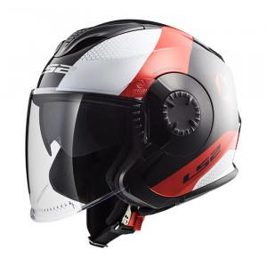 SUPEROFERTA: Casco jet LS2 Helmets OF570 VERSO Technik Black White Red
