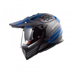 Casco cross/enduro LS2 Helmets MX436 PIONEER QUARTERBACK Matt Titanium Blue