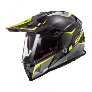 Casco cross/enduro LS2 Helmets MX436 PIONEER RING Matt Titanium HV Yellow