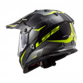 Casco cross/enduro LS2 Helmets MX436 PIONEER RING Matt Titanium HV Yellow