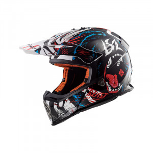 Casco cross/enduro LS2 Helmets MX437 FAST BEAST Black White