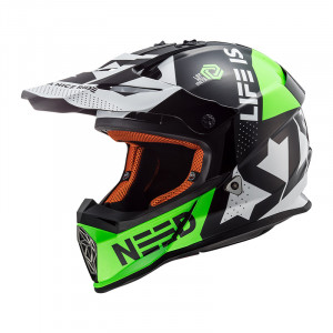 Casco cross/enduro LS2 Helmets MX437 FAST BLOCK Black Green