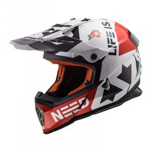 Casco cross/enduro LS2 Helmets MX437 FAST BLOCK White Red