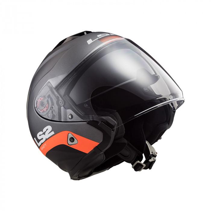 Casco jet LS2 Helmets OF521 INFINITY SMART Matt Titanium ...