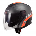 Casco jet LS2 Helmets OF521 INFINITY SMART Matt Titanium Orange