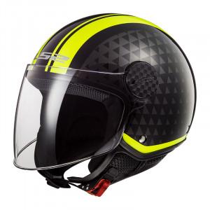 Casco jet LS2 Helmets OF558 SPHERE LUX Crush Black HV Yellow