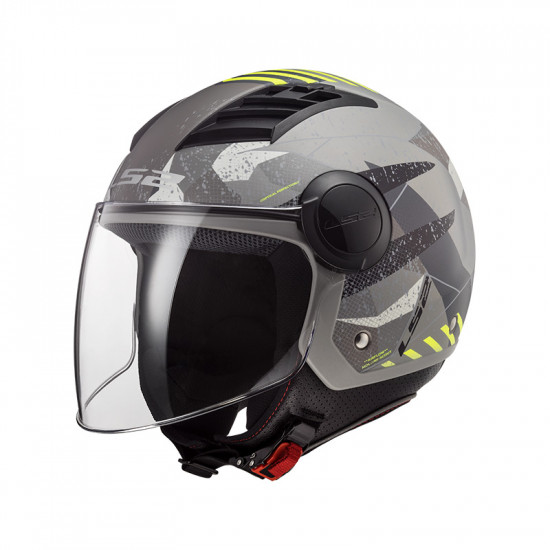 Casco jet LS2 Helmets OF562 AIRFLOW L CAMO Matt Titanium Yellow