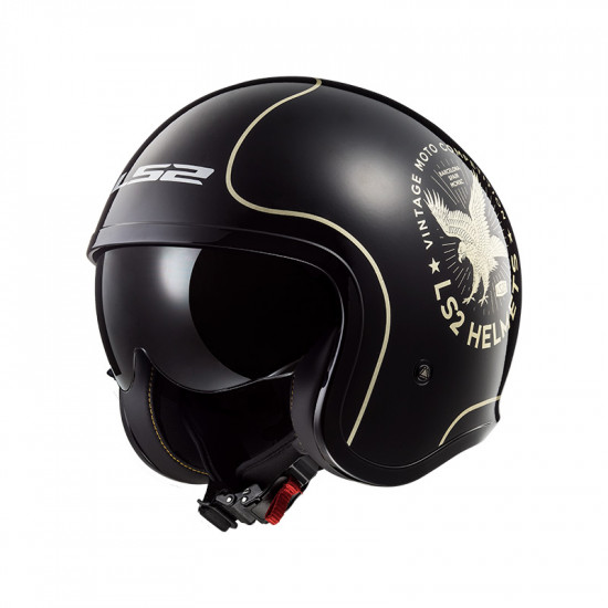 Casco jet LS2 Helmets OF599 SPITFIRE Flier Black Gold