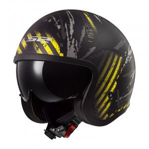 SUPEROFERTA Casco jet LS2 Helmets OF599 SPITFIRE Garage Matt Black Yellow