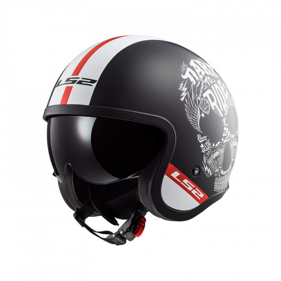 Casco jet LS2 Helmets OF599 SPITFIRE Inky Matt Black White