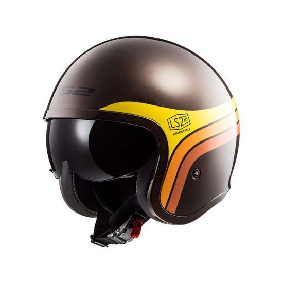 Casco jet LS2 Helmets OF599 SPITFIRE Sunrise Brown Orange Yellow
