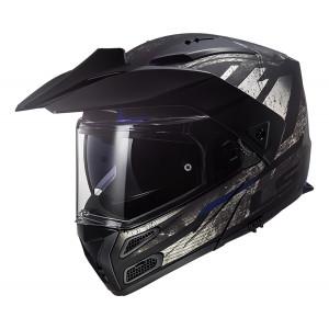 Casco moto convertible LS2 FF324 METRO PJ EVO Buzz Matt Black Titanium Blue