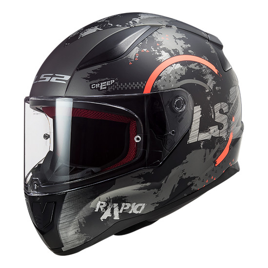 Casco integral LS2 Helmets FF353 RAPID Circle Matt Titanium Fluo Orange