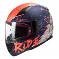 Casco integral LS2 Helmets FF353 RAPID Naughty Matt Blue Fluo Orange