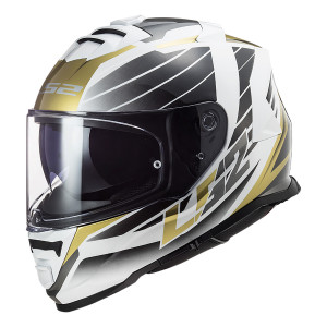 Casco integral LS2 FF800 STORM Nerve White Antique Gold
