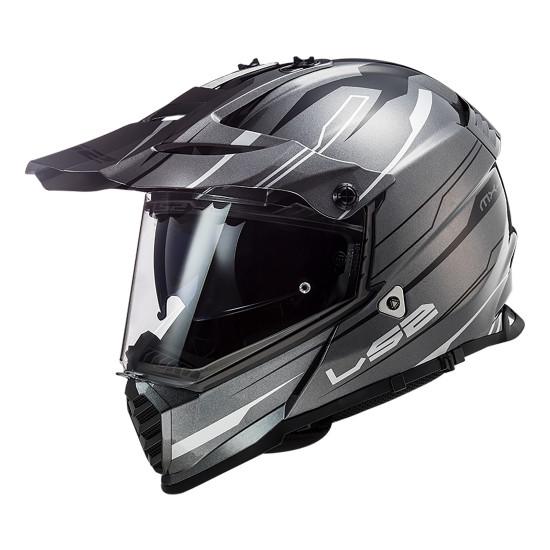 Casco offroad LS2 Helmets MX436 PIONEER EVO Knight Titanium White