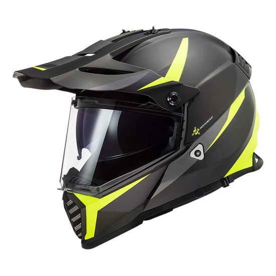 Casco offroad LS2 Helmets MX436 PIONEER EVO Router Matt Black HV Yellow