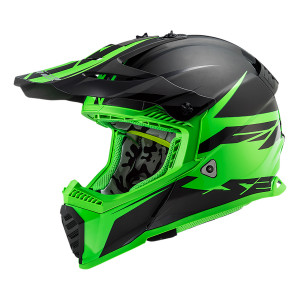 Casco cross/enduro LS2 Helmets MX437 FAST Roar Matt Black Green