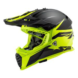 Casco cross/enduro LS2 Helmets MX437 FAST Roar Matt Black HV Yellow