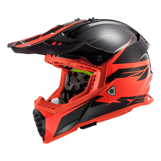 Casco cross/enduro LS2 Helmets MX437 FAST Roar Matt Black Red