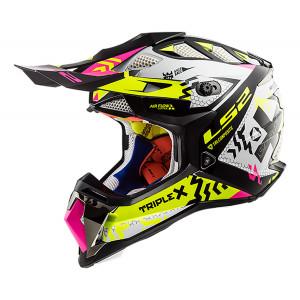 SUPEROFERTA Casco cross/enduro LS2 Helmets MX470 SUBVERTER Triplex Black H-V Yellow Pink