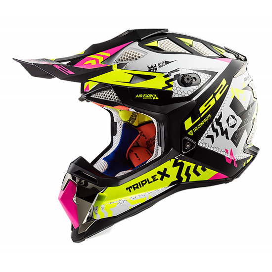 Casco cross/enduro LS2 Helmets MX470 SUBVERTER Triplex Black H-V Yellow Pink