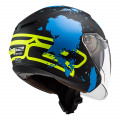 Casco jet LS2 OF573 TWISTER II Xover Matt Black Blue