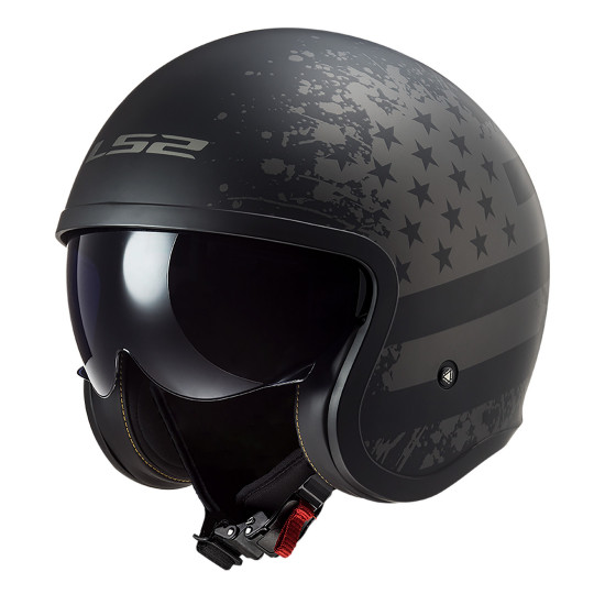 Casco jet LS2 Helmets OF599 SPITFIRE Black Flag Matt Black Titanium