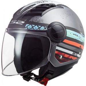 Casco jet LS2 Helmets OF562 AIRFLOW L RONNIE Matt Silver Blue