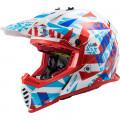 Casco cross/enduro LS2 Helmets MX437 FAST EVO Funky Red White