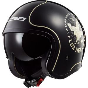 Casco jet LS2 Helmets OF599 SPITFIRE Flier Black Gold