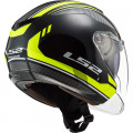 Casco jet LS2 OF573 TWISTER II Flix Black HV Yellow
